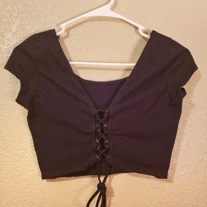 Ambiance Apparel black crop top criss cross tie up